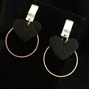 Jewelry - BLACK TEXTURED LEATHER, GOLD&SILVER TONE EARRINGS